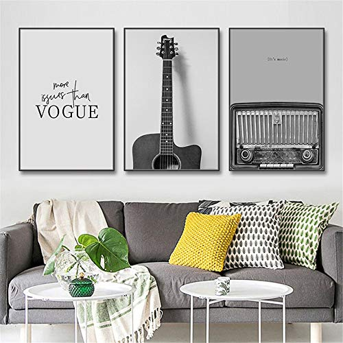 Dipinti Decorativi Dipinti su tela bianca chitarra Radio Moda arte moderna della parete nera for teenager Soggiorno Camera da letto Decor Set di 3 fotogrammi Idea regalo per Natale e Capodanno