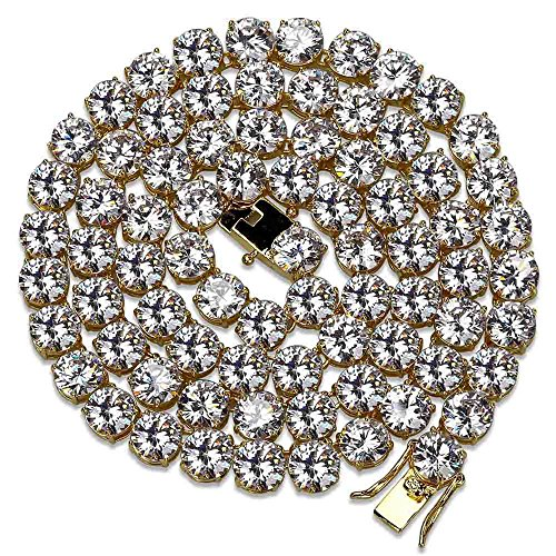 Jewelrysays - Collana da Tennis con 1 Fila di zirconi, Stile Hip Hop, 10 mm, Idea Regalo